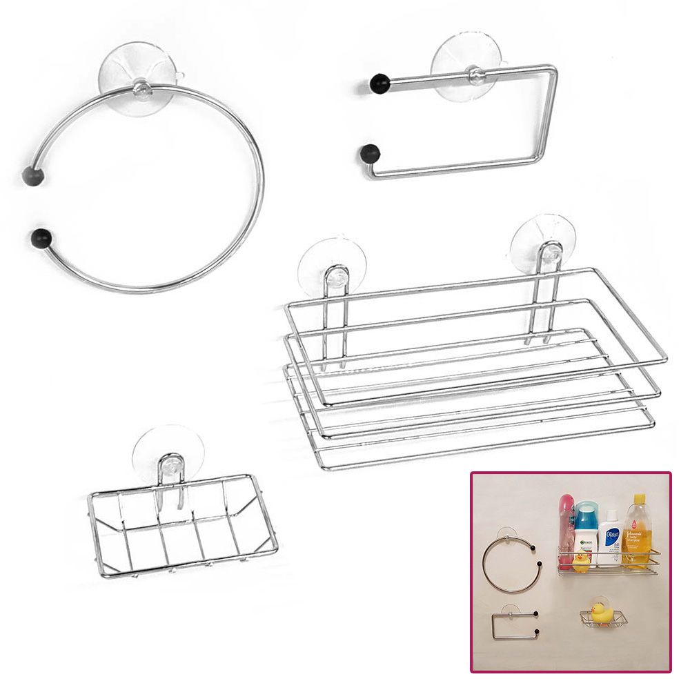 Chrome Wire Bathroom Shower Accessories Set Kit Modern Suction Easy ...