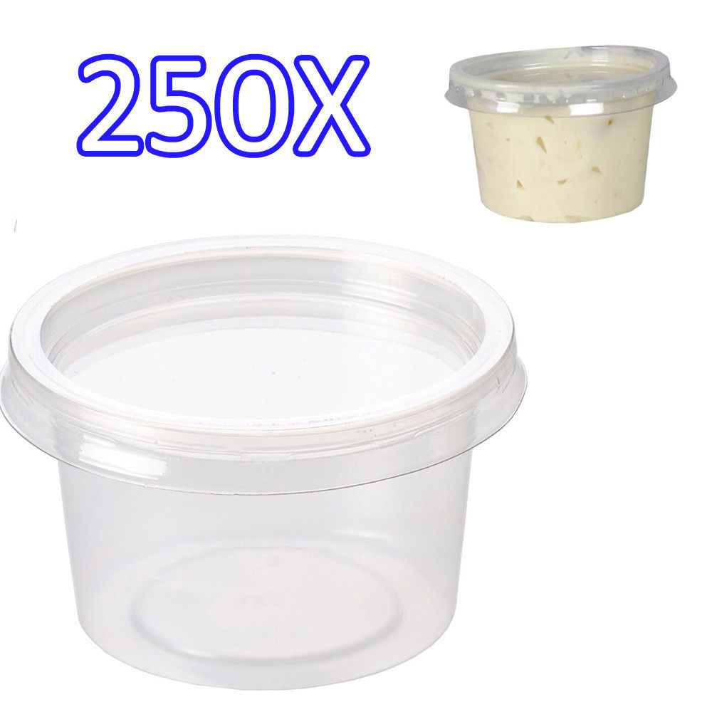 250x 4oz Clear Plastic Containers Tubs With Separate Lids Food Safe